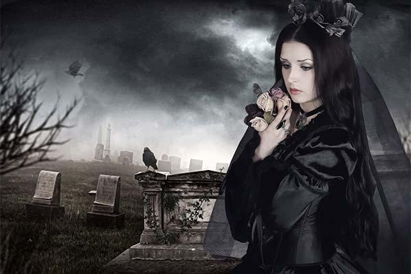 Ведьма на кладбище